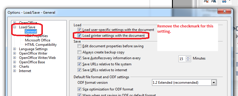 How to disable OpenOffice default printer setting (make it use